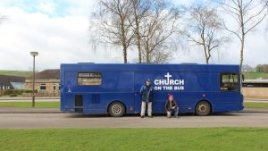 The Bus parked outside Lady Manners School