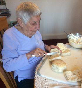 Making sandwiches on her 95th birthday