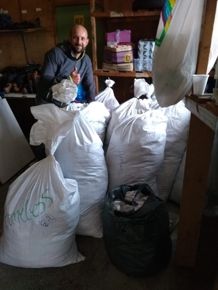 Several bags of clothing donated by Chris Gillingham